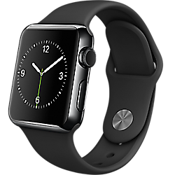Apple Watch 38mm Space Black Stainless Steel Case with Black Sport Band