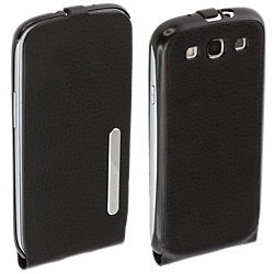 Samsung Galaxy S III Leather Flip Case - Black