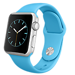 Apple Watch 38mm Silver Aluminium Case with Blue Sport Band