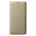 Samsung Galaxy S6 Edge flip wallet Cover (Fabric) - Gold