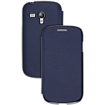 Samsung leather flip case for Galaxy S III mini - Blue