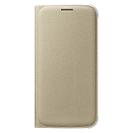 Samsung Galaxy S6 flip wallet cover (Fabric) - Gold